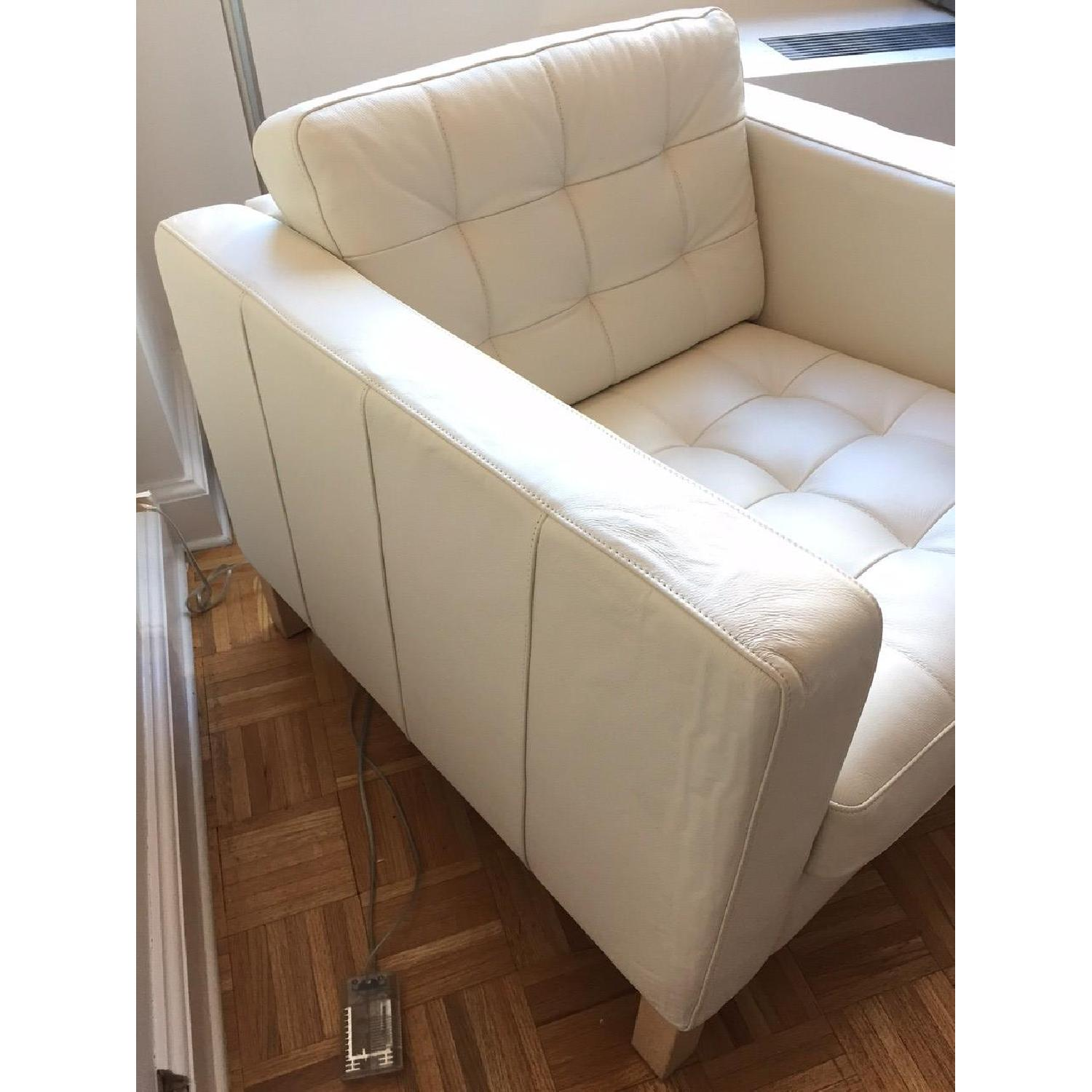 Ikea Leather Off White Armchair - image-3