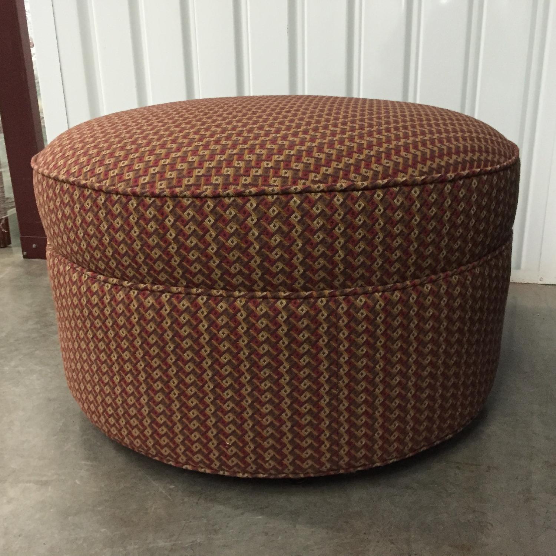 Round Designer Ottoman in Custom Fabric - image-1