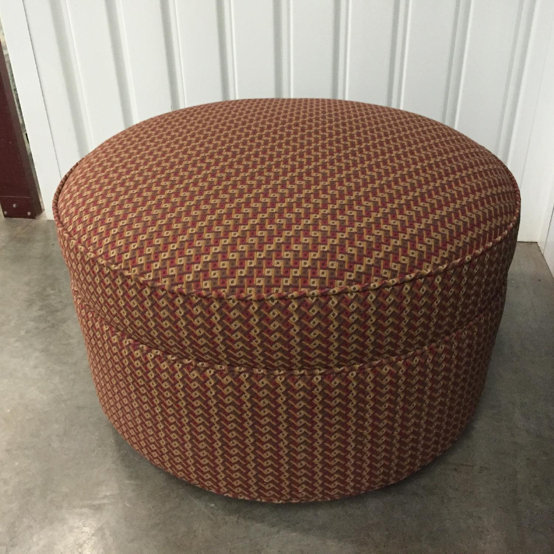 Round Designer Ottoman in Custom Fabric - image-3