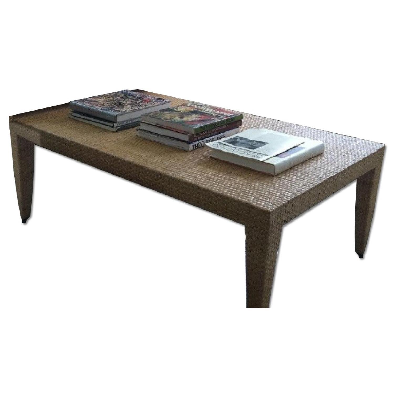 Baker Woven Natural Rattan Tables - Pair - image-0
