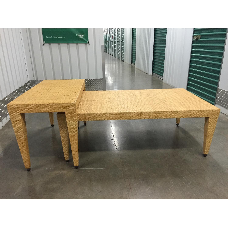 Baker Woven Natural Rattan Tables - Pair - image-2