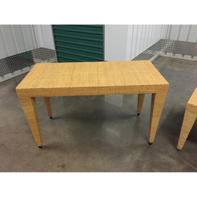 Baker Woven Natural Rattan Tables - Pair - image-4