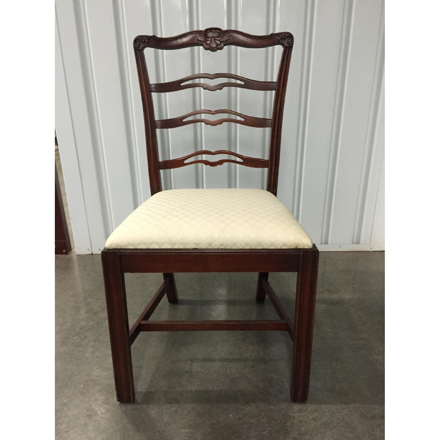 Antique Dining Room Chairs w/ Cherry Wood Frames & Custom Seat Upholstery - Set of 5 - image-1