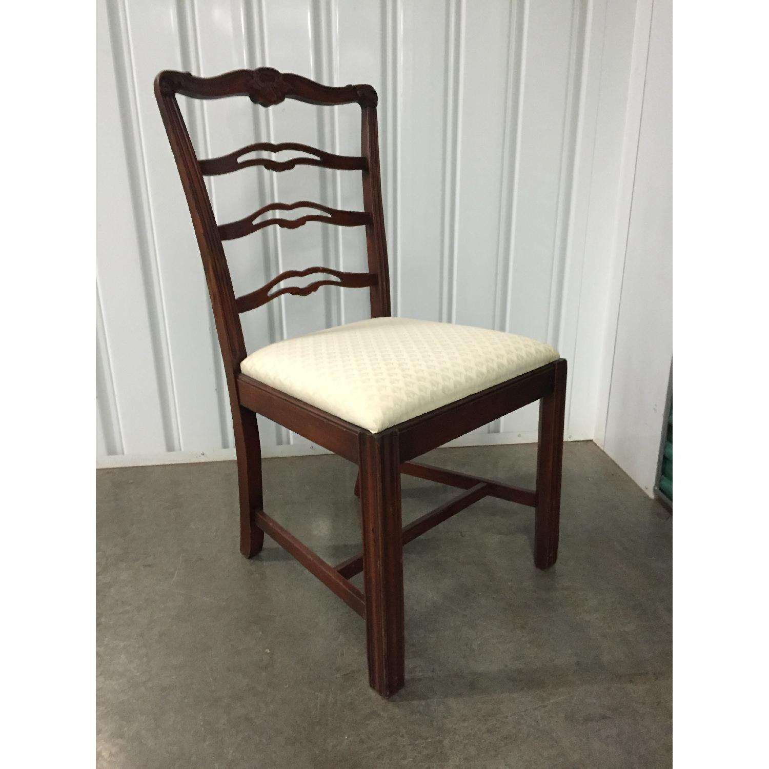 Antique Dining Room Chairs w/ Cherry Wood Frames & Custom Seat Upholstery - Set of 5 - image-2