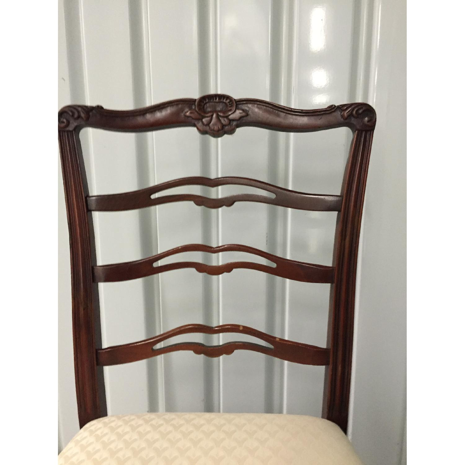 Antique Dining Room Chairs w/ Cherry Wood Frames & Custom Seat Upholstery - Set of 5 - image-3