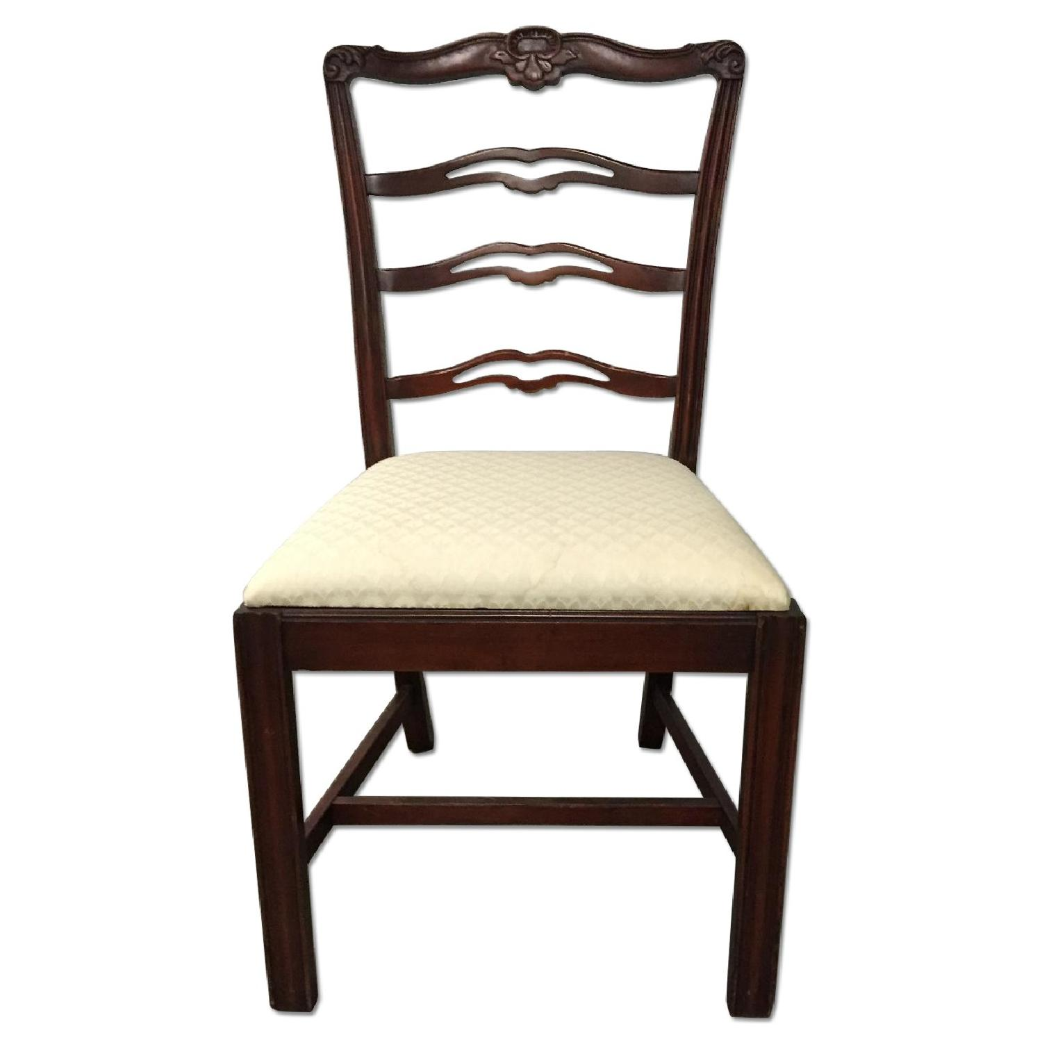 Antique Dining Room Chairs w/ Cherry Wood Frames & Custom Seat Upholstery - Set of 5 - image-0