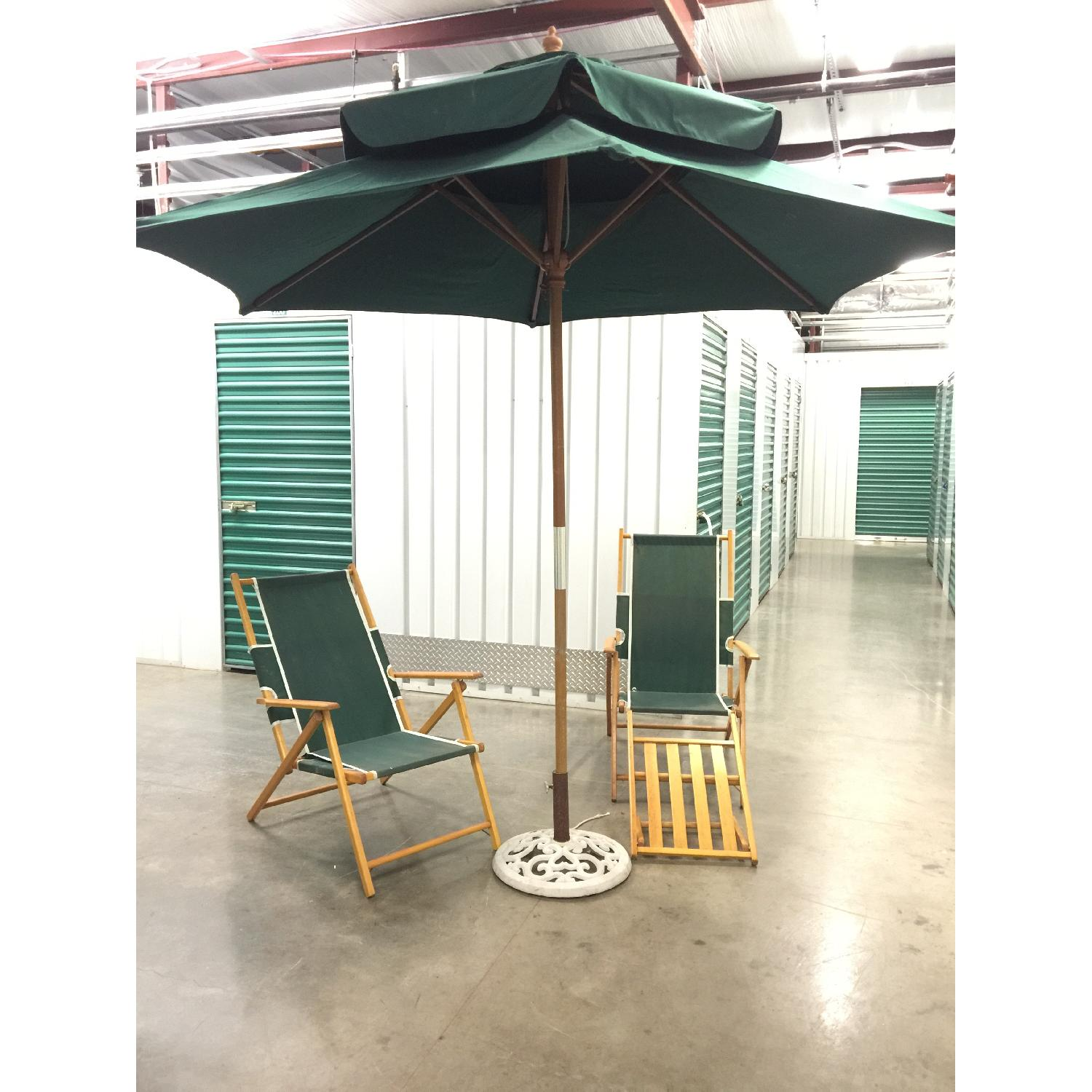 Fully Renovated Long Island Gold Coast Umbrella w/ 2 Folding Deckchairs - image-2