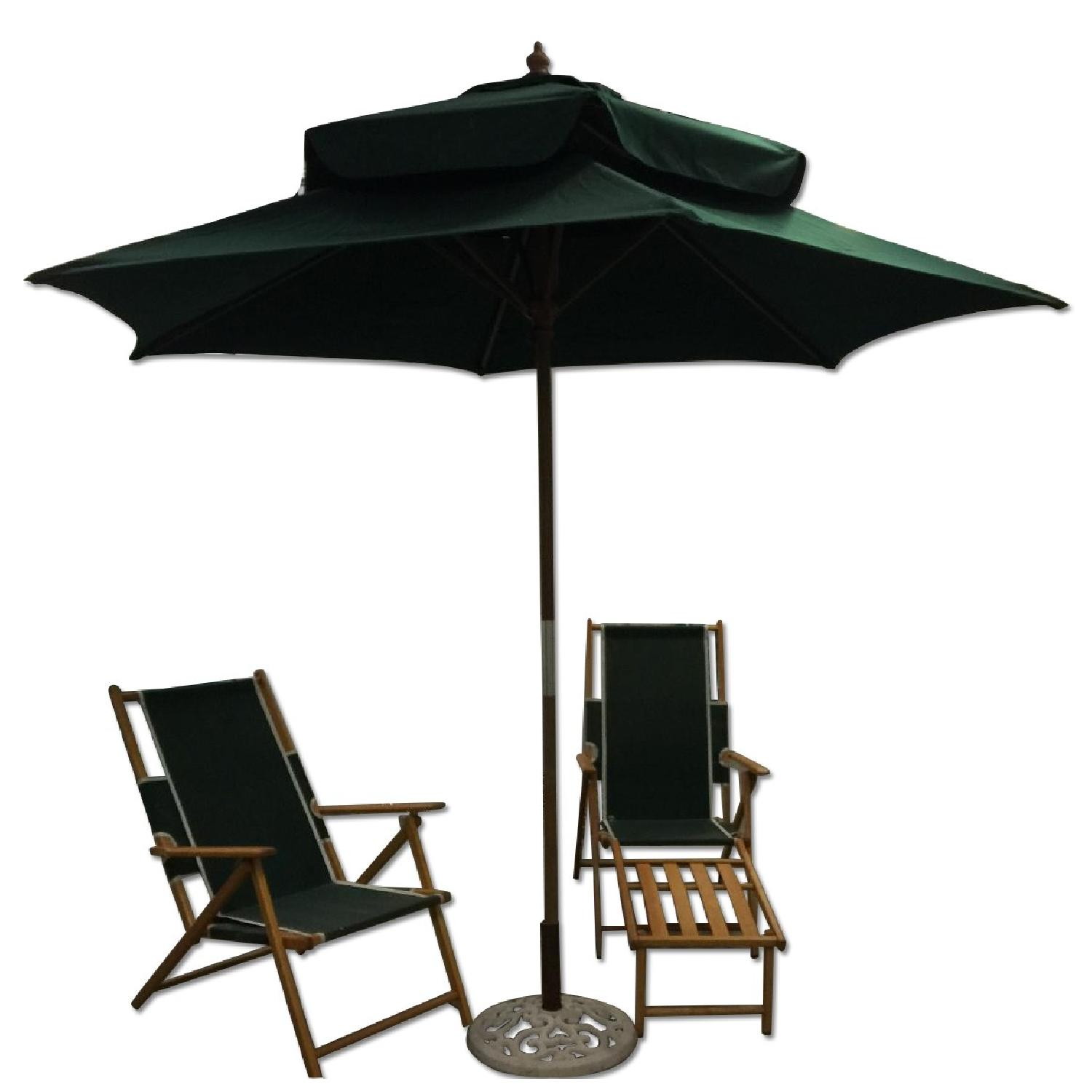 Fully Renovated Long Island Gold Coast Umbrella w/ 2 Folding Deckchairs - image-0