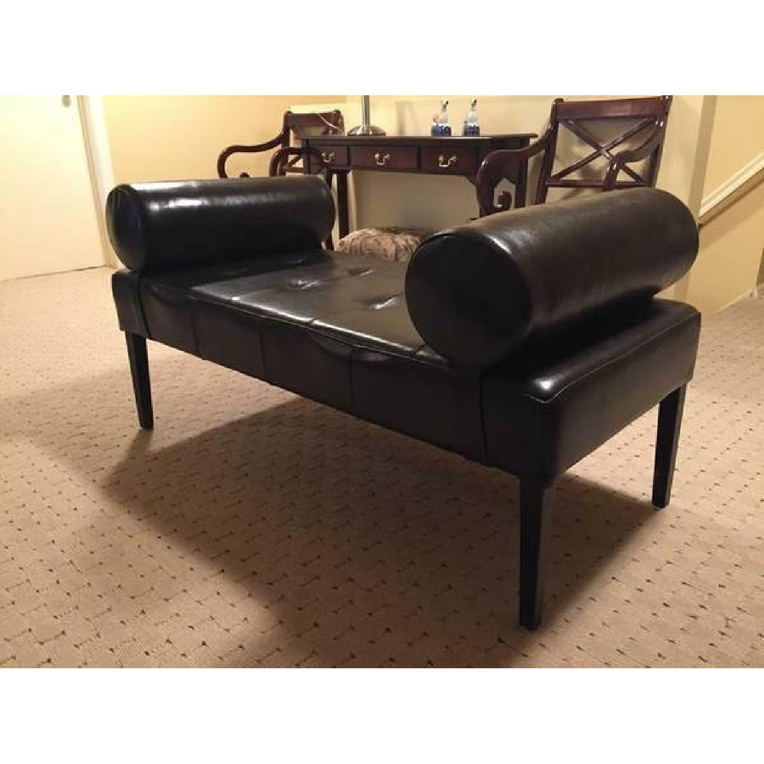 Leather Bench with Arms - image-2