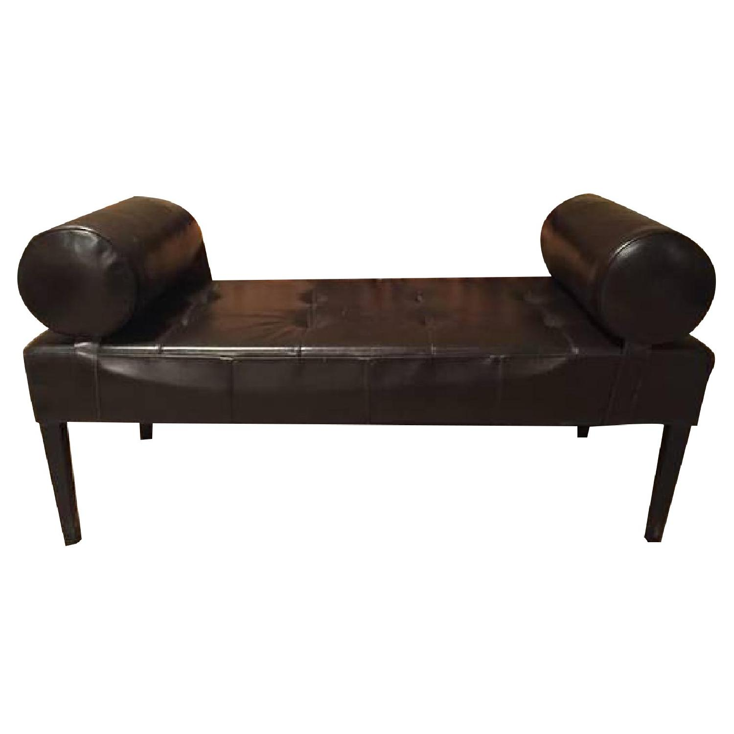 Leather Bench with Arms - image-0