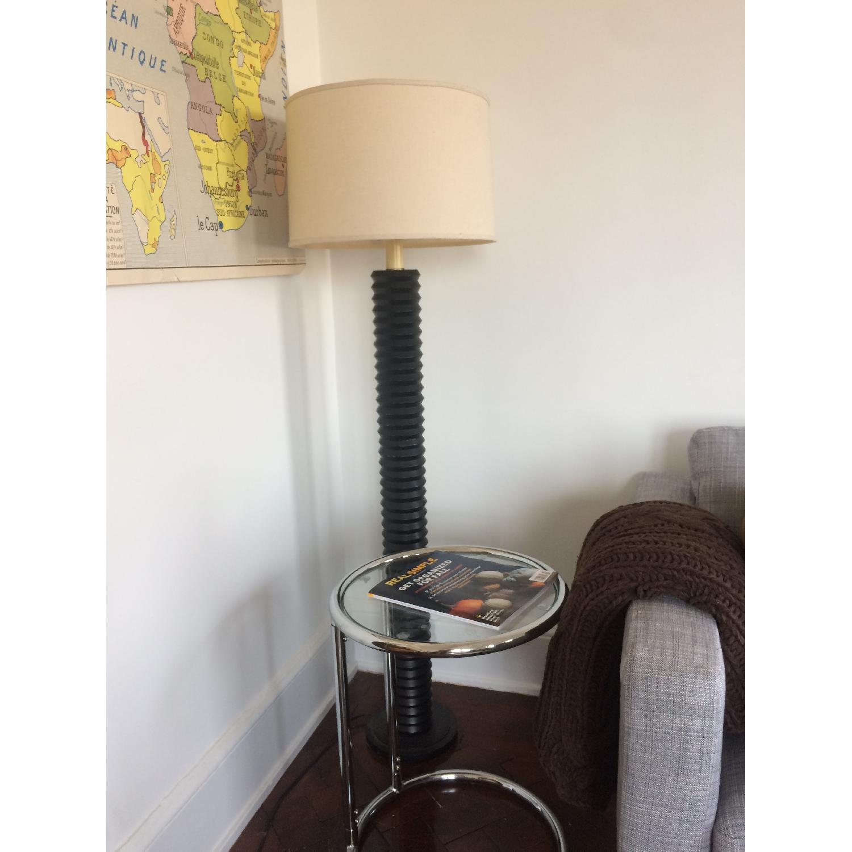 D&D Building Black Lamp w/ Cream Linen Shade - image-1