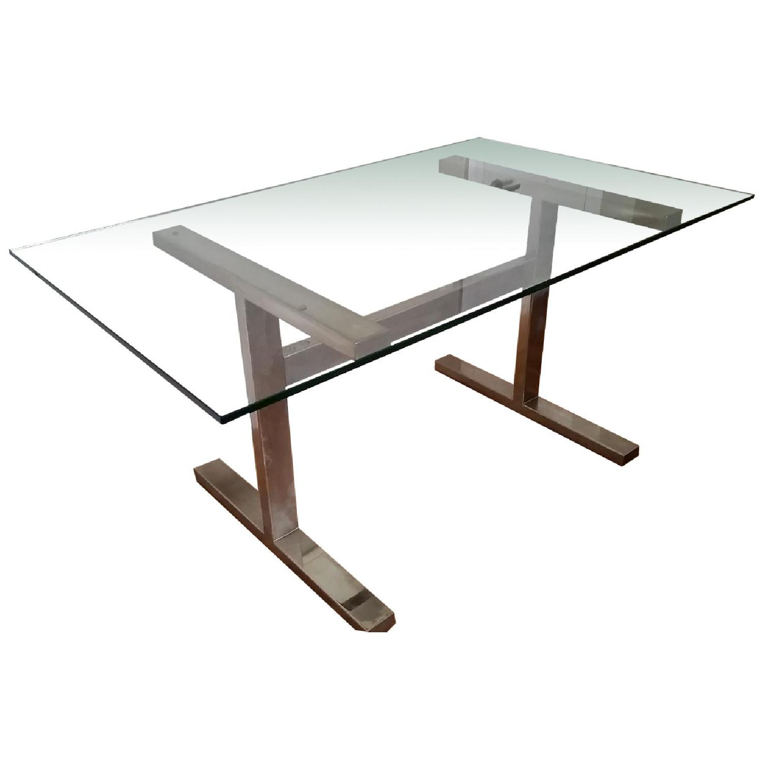 Williams-Sonoma Mercer Glass Table with Metal Frame - image-0