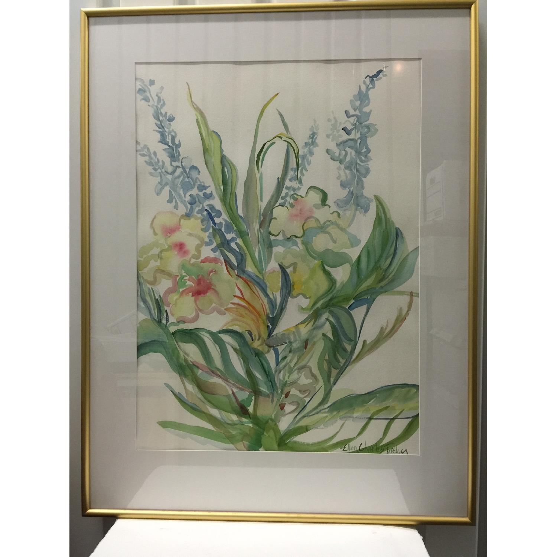 Ellen Friel Watercolor Painting in Gold Frame - image-1