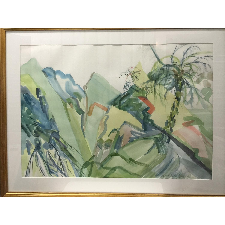 Ellen Friel Watercolor Painting in Gold Frame - image-0