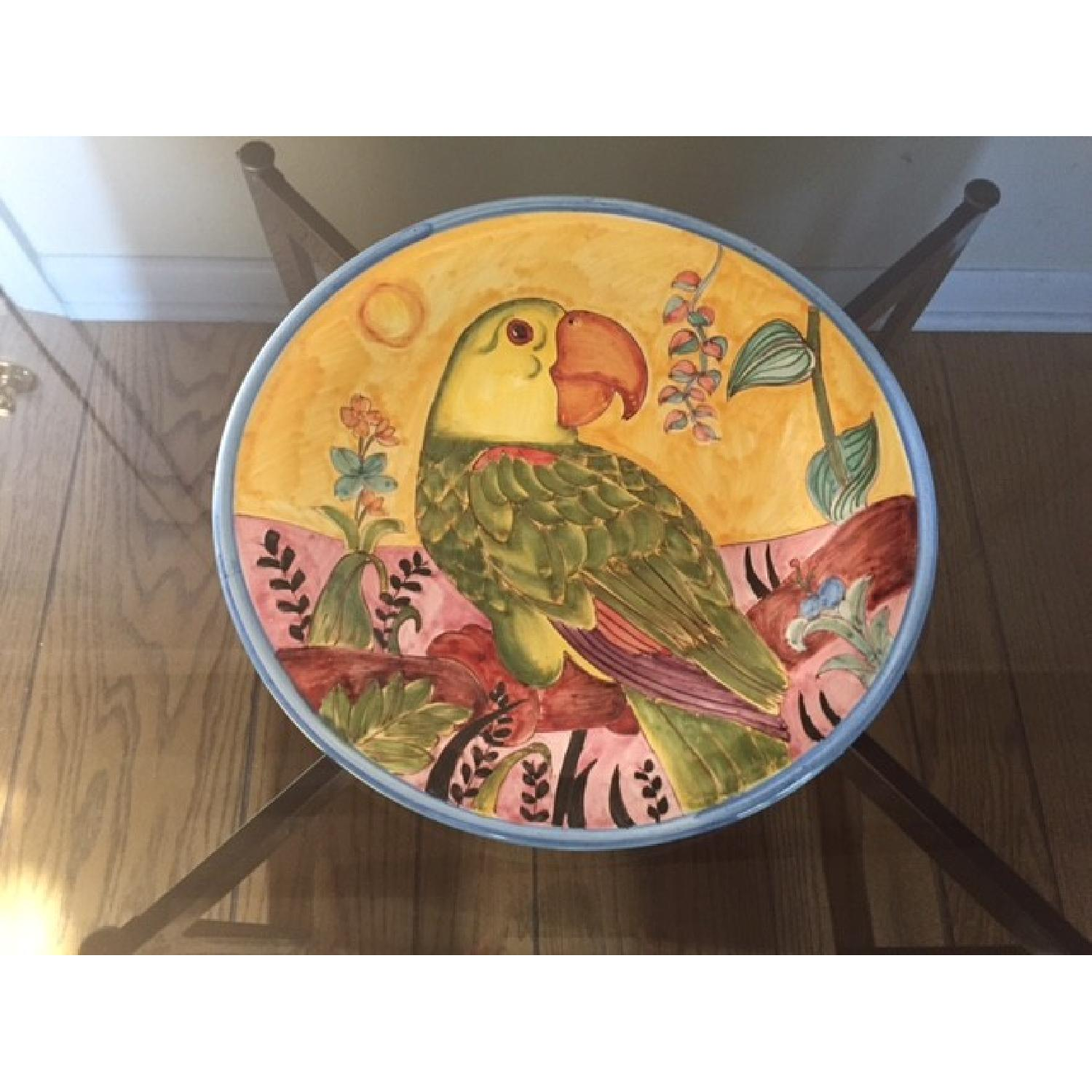 Country Floors Italian Hand Painted Decorative Platter w/ Parrot Print - image-1