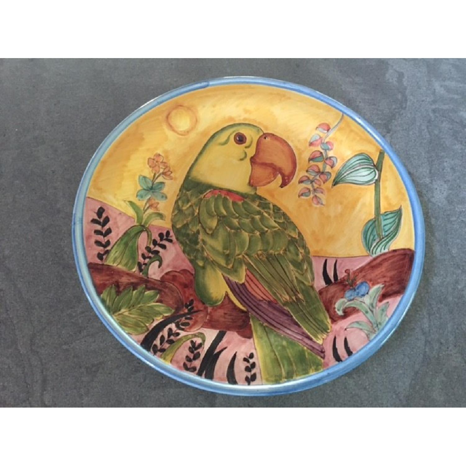 Country Floors Italian Hand Painted Decorative Platter w/ Parrot Print - image-2