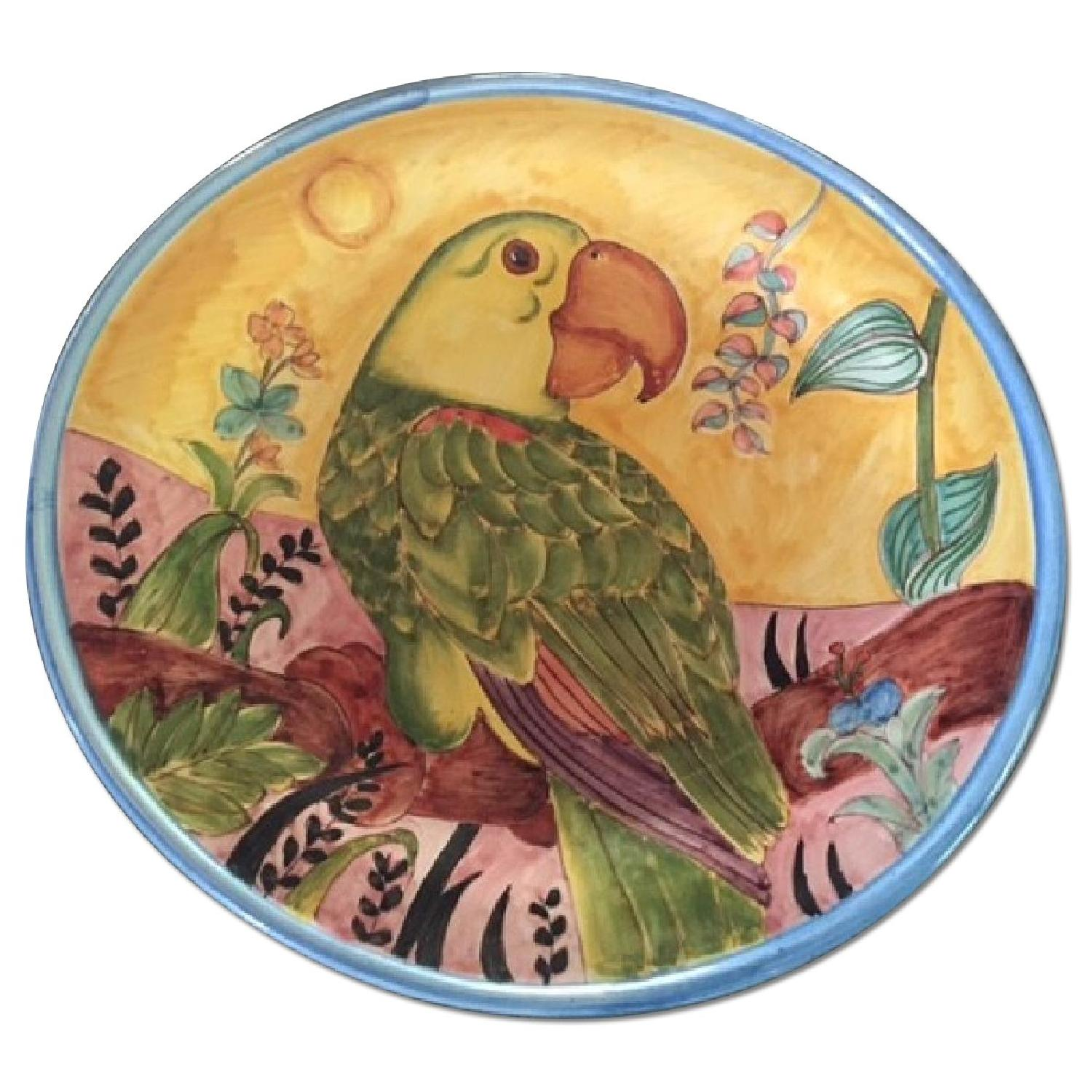Country Floors Italian Hand Painted Decorative Platter w/ Parrot Print - image-0