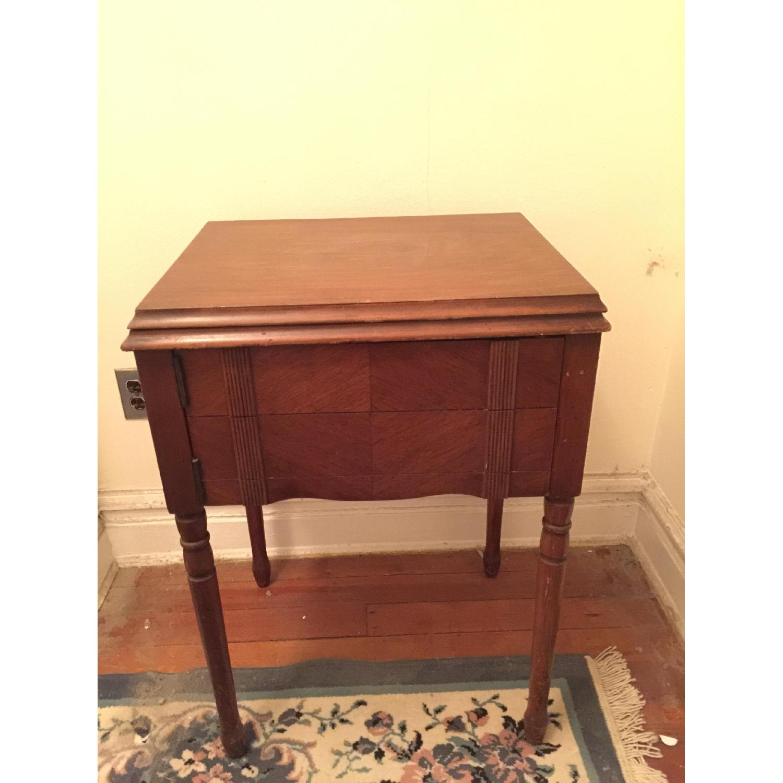 Circa 1950 White Sewing Machine w/ Cabinet - image-1
