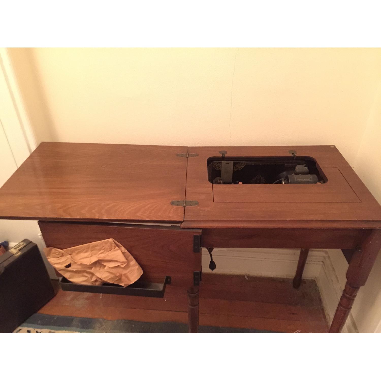 Circa 1950 White Sewing Machine w/ Cabinet - image-2