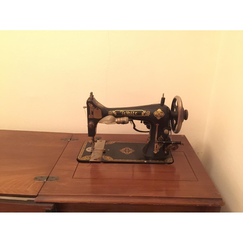 Circa 1950 White Sewing Machine w/ Cabinet - image-3
