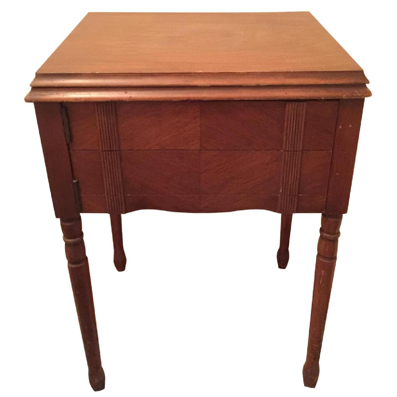 Circa 1950 White Sewing Machine w/ Cabinet - image-0