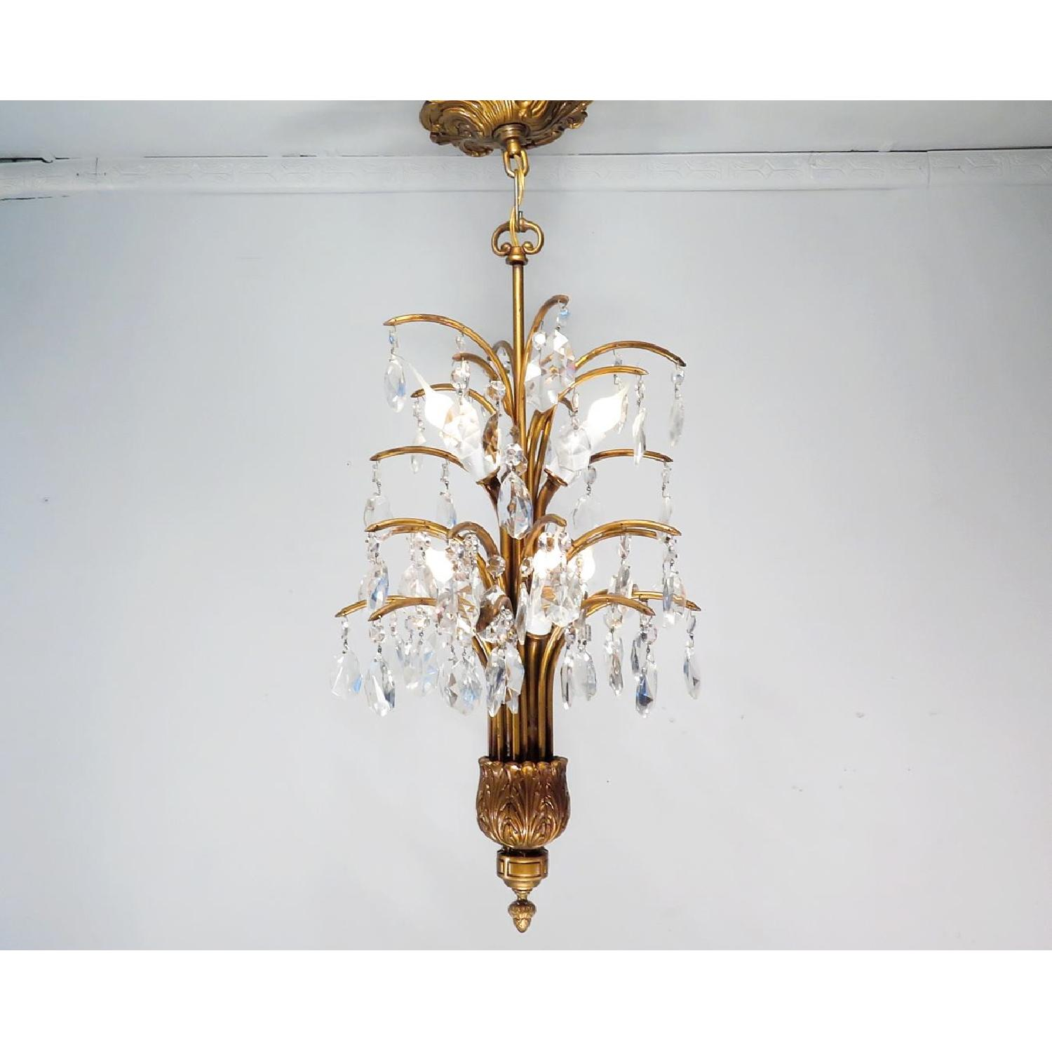 Antique Vintage Mid-Century Chandelier w/ Spray Crystals - 3 Available - image-1