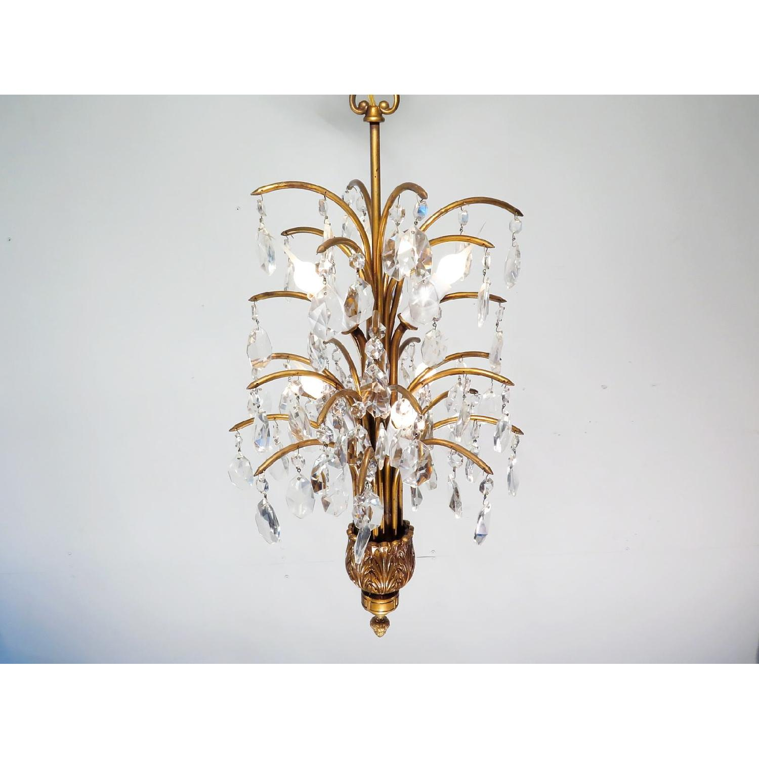 Antique Vintage Mid-Century Chandelier w/ Spray Crystals - 3 Available - image-2
