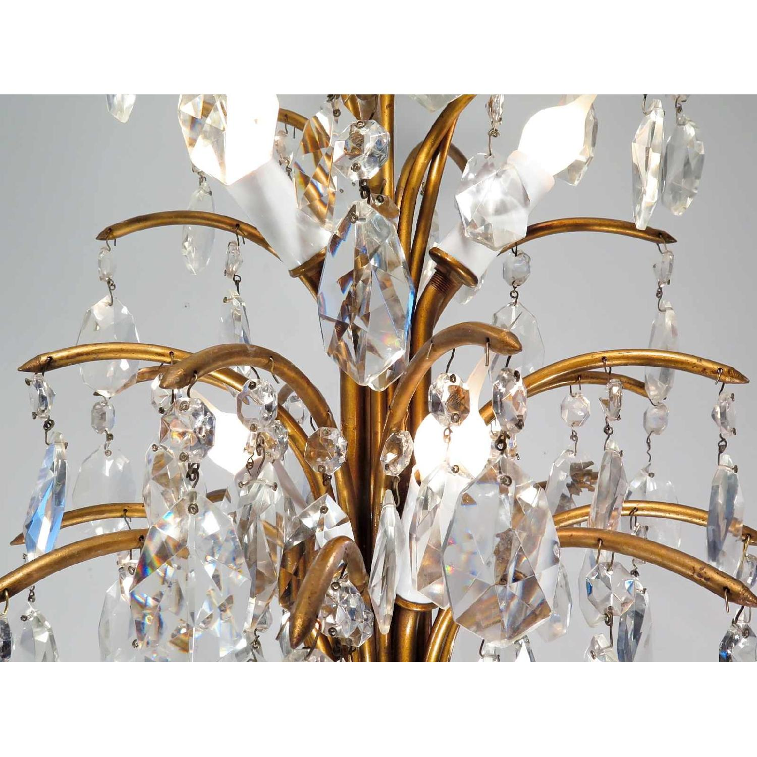 Antique Vintage Mid-Century Chandelier w/ Spray Crystals - 3 Available - image-4