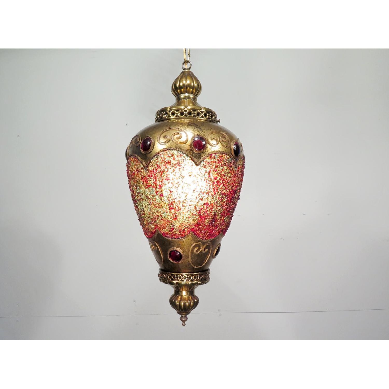 Vintage Hollywood Regency Chandelier w/ Gold Pendants - 2 Available - image-1