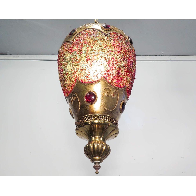 Vintage Hollywood Regency Chandelier w/ Gold Pendants - 2 Available - image-3
