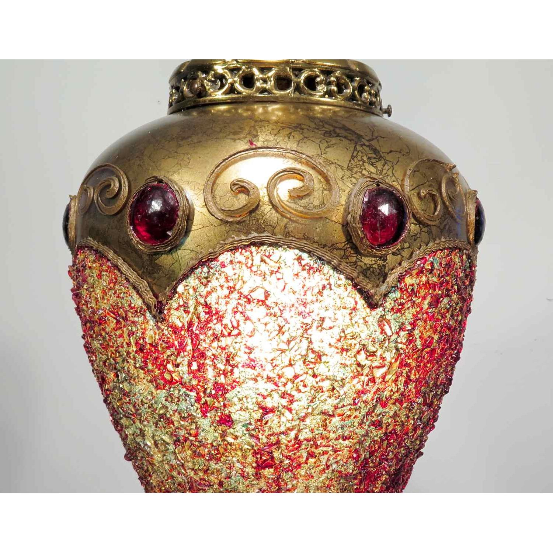 Vintage Hollywood Regency Chandelier w/ Gold Pendants - 2 Available - image-4