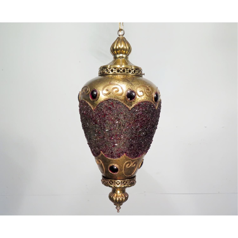 Vintage Hollywood Regency Chandelier w/ Gold Pendants - 2 Available - image-5