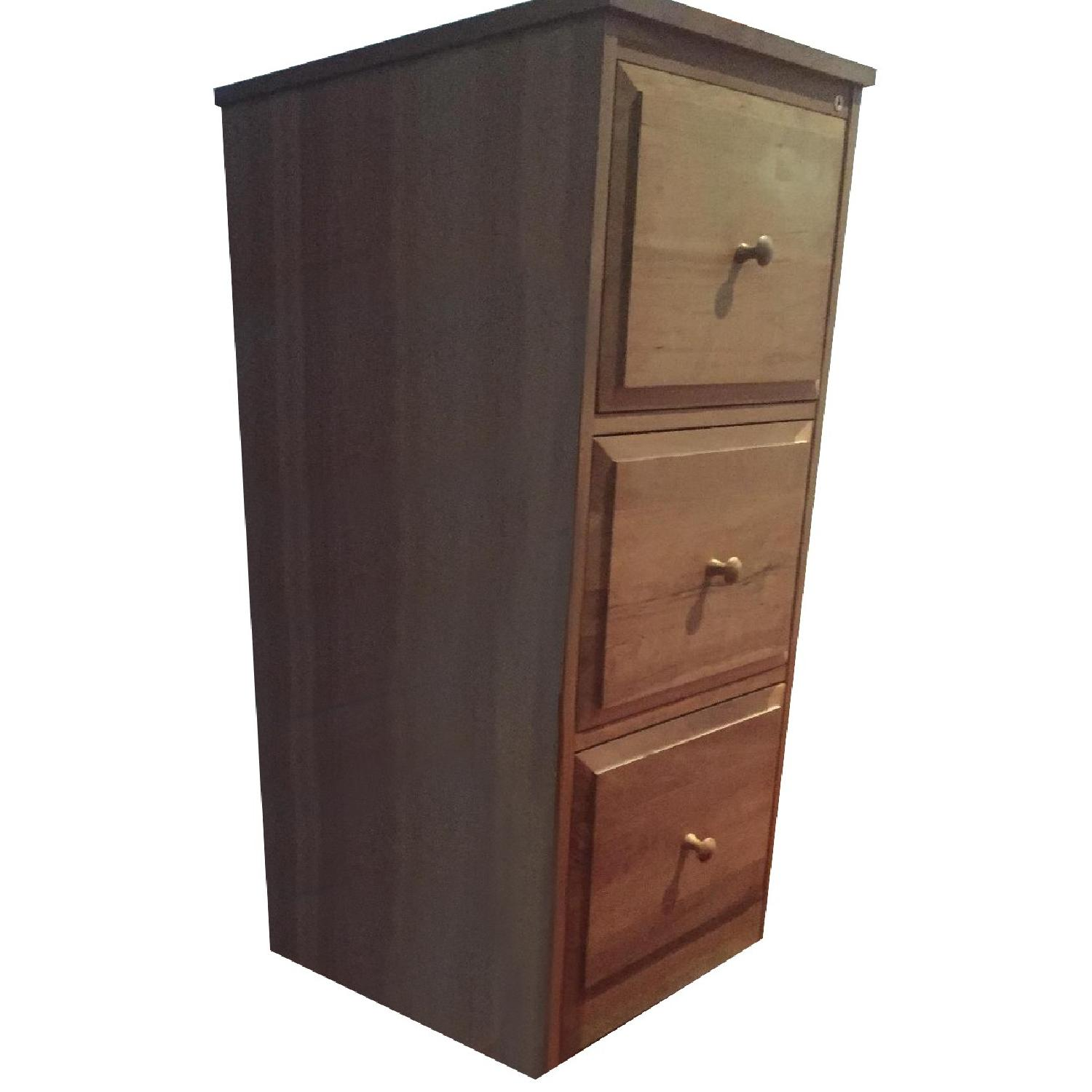 Crate & Barrel 3-Drawer Cherry File Cabinet - image-0