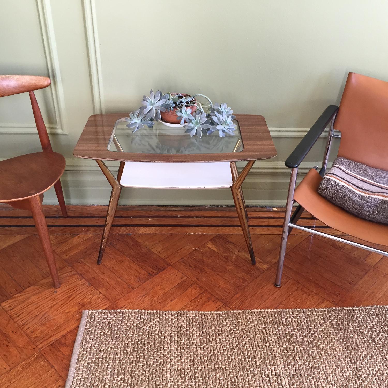 Mid-Century Modern Side Table w/ Brass Legs - image-1