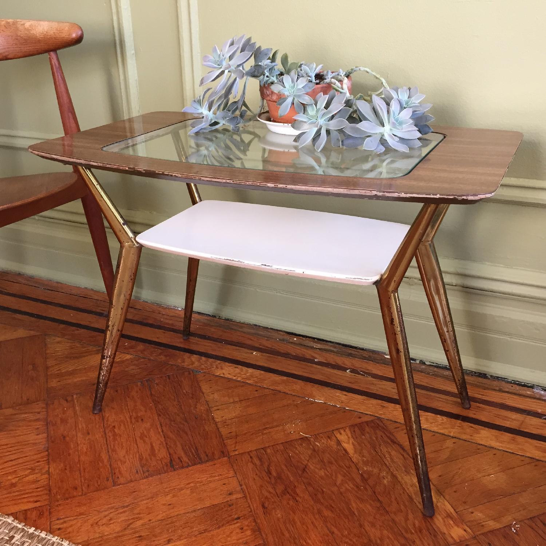 Mid-Century Modern Side Table w/ Brass Legs - image-2