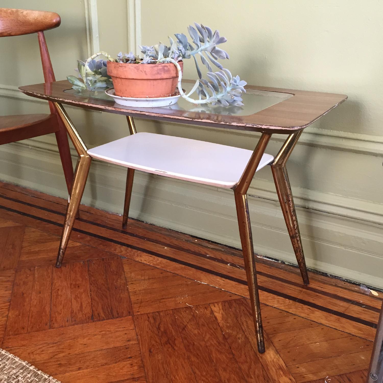 Mid-Century Modern Side Table w/ Brass Legs - image-3