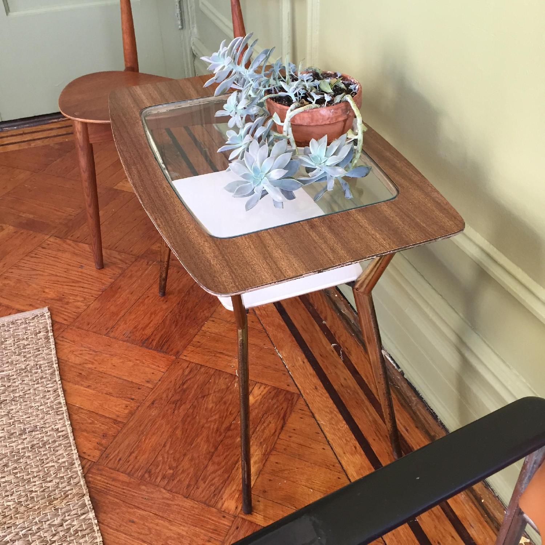 Mid-Century Modern Side Table w/ Brass Legs - image-6