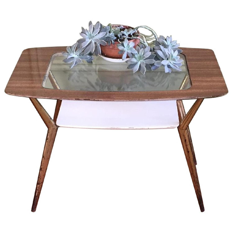Mid-Century Modern Side Table w/ Brass Legs - image-0