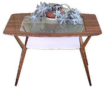Mid-Century Modern Side Table w/ Brass Legs