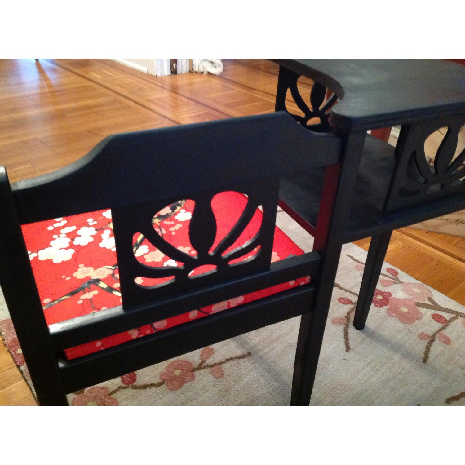 Upcycled Vintage Telephone Gossip Table/Chair - Hot Pink/Red Cherry Blossom Fabric - image-3