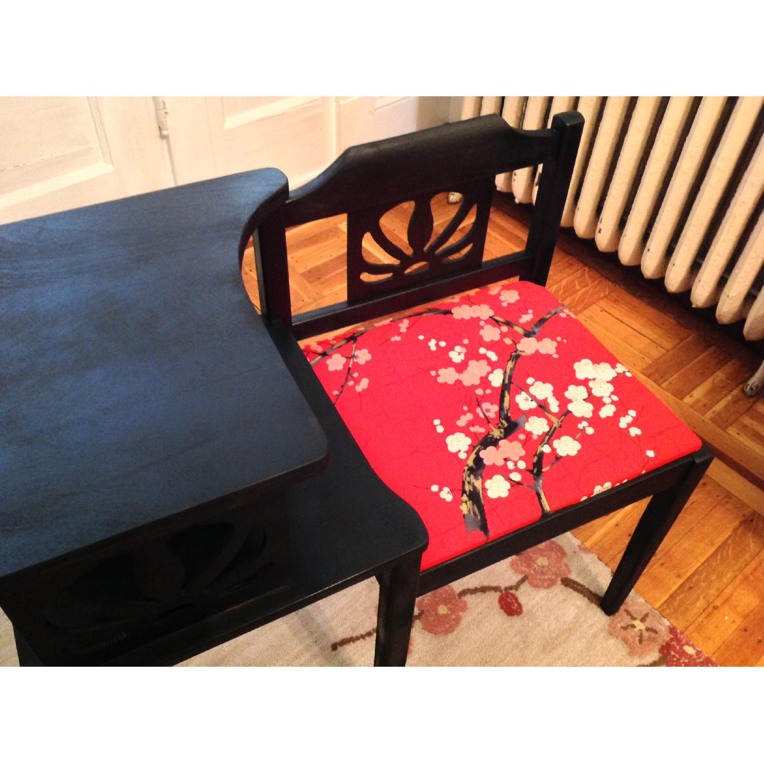Upcycled Vintage Telephone Gossip Table/Chair - Hot Pink/Red Cherry Blossom Fabric - image-5