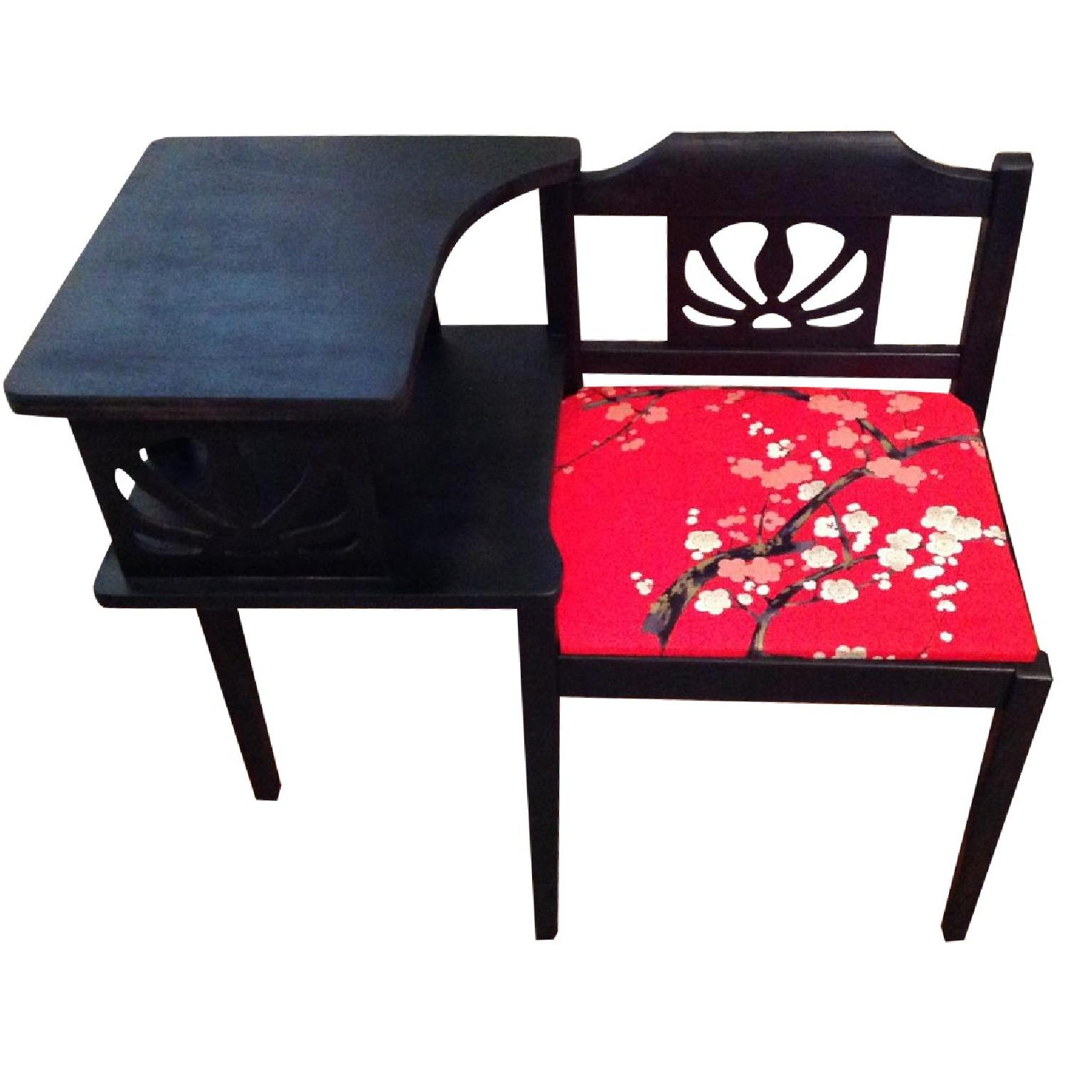 Upcycled Vintage Telephone Gossip Table/Chair - Hot Pink/Red Cherry Blossom Fabric - image-0