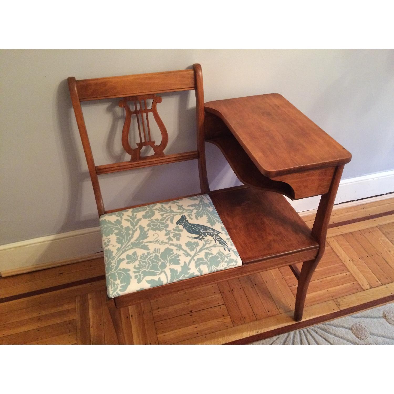 Vintage 1960's Harp Back Refurbished Telephone Gossip Table/Chair - image-1