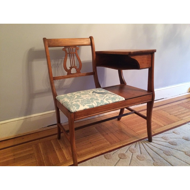 Vintage 1960's Harp Back Refurbished Telephone Gossip Table/Chair - image-2