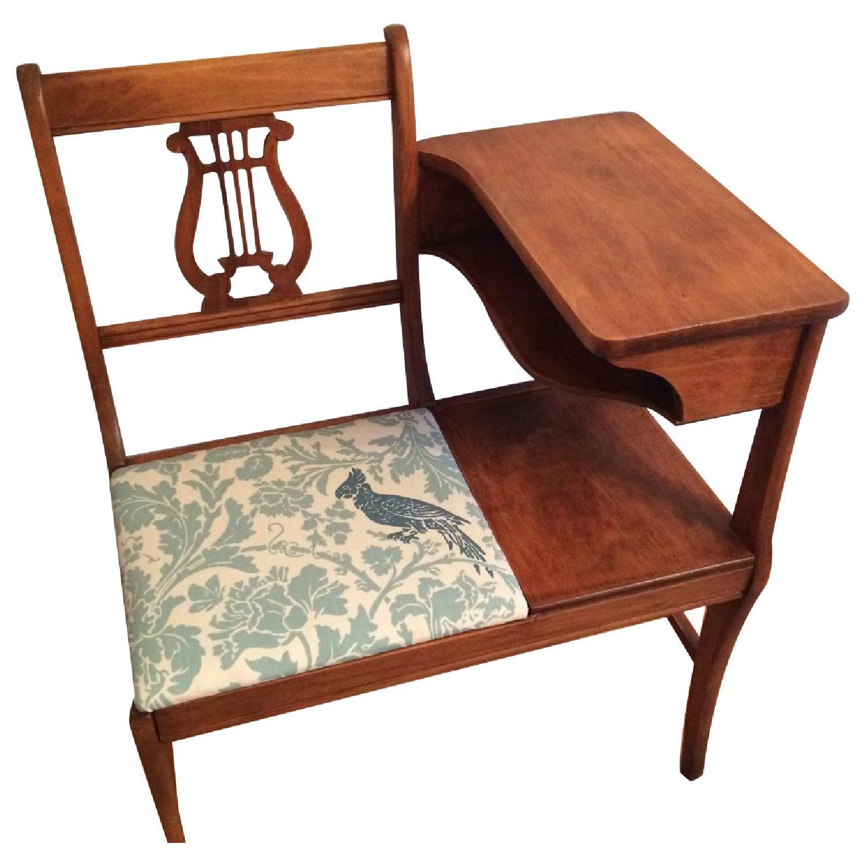 Vintage 1960's Harp Back Refurbished Telephone Gossip Table/Chair - image-0