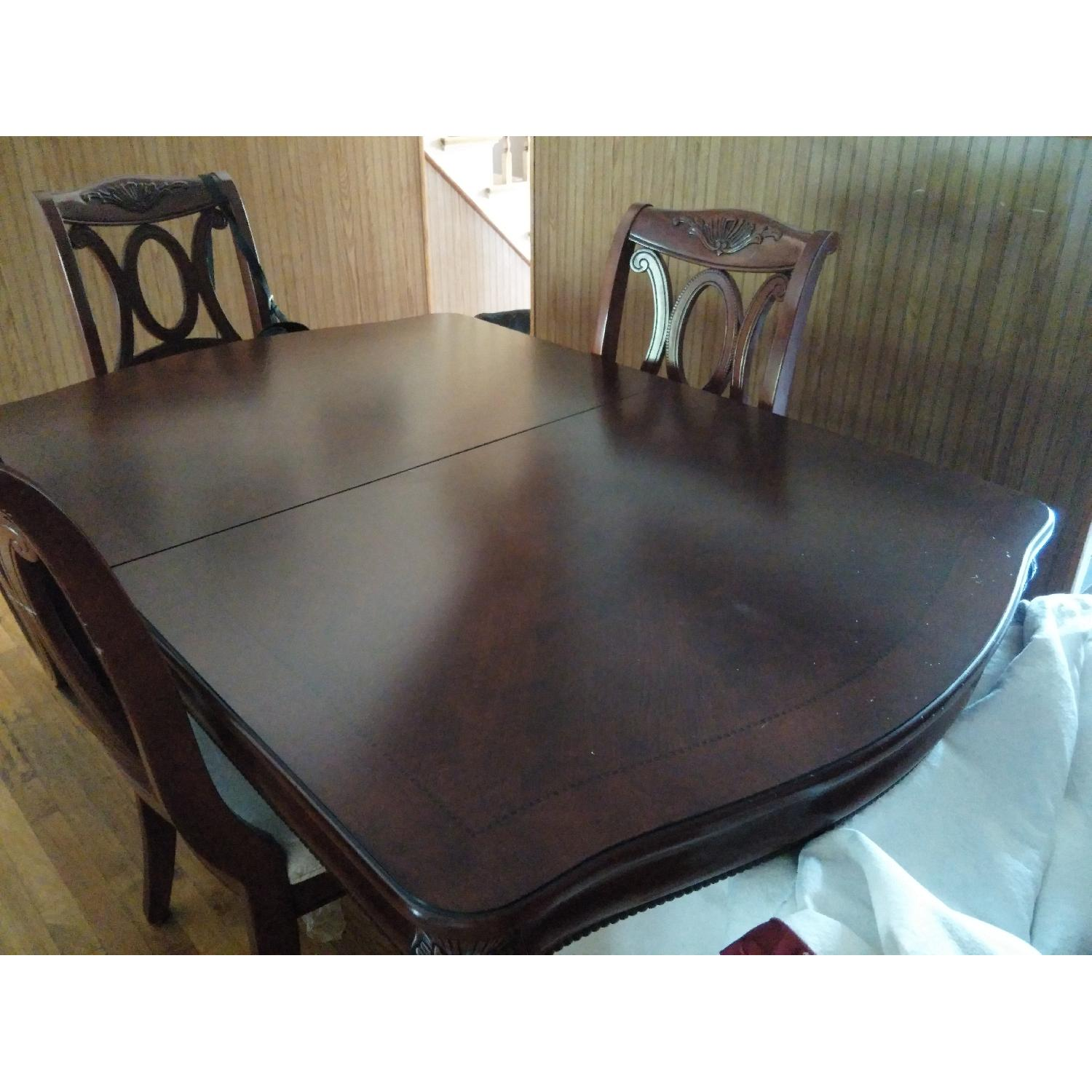 Fortunoff Cherry Wod Dining Table w/ 8 Chairs + China Buffet - image-4