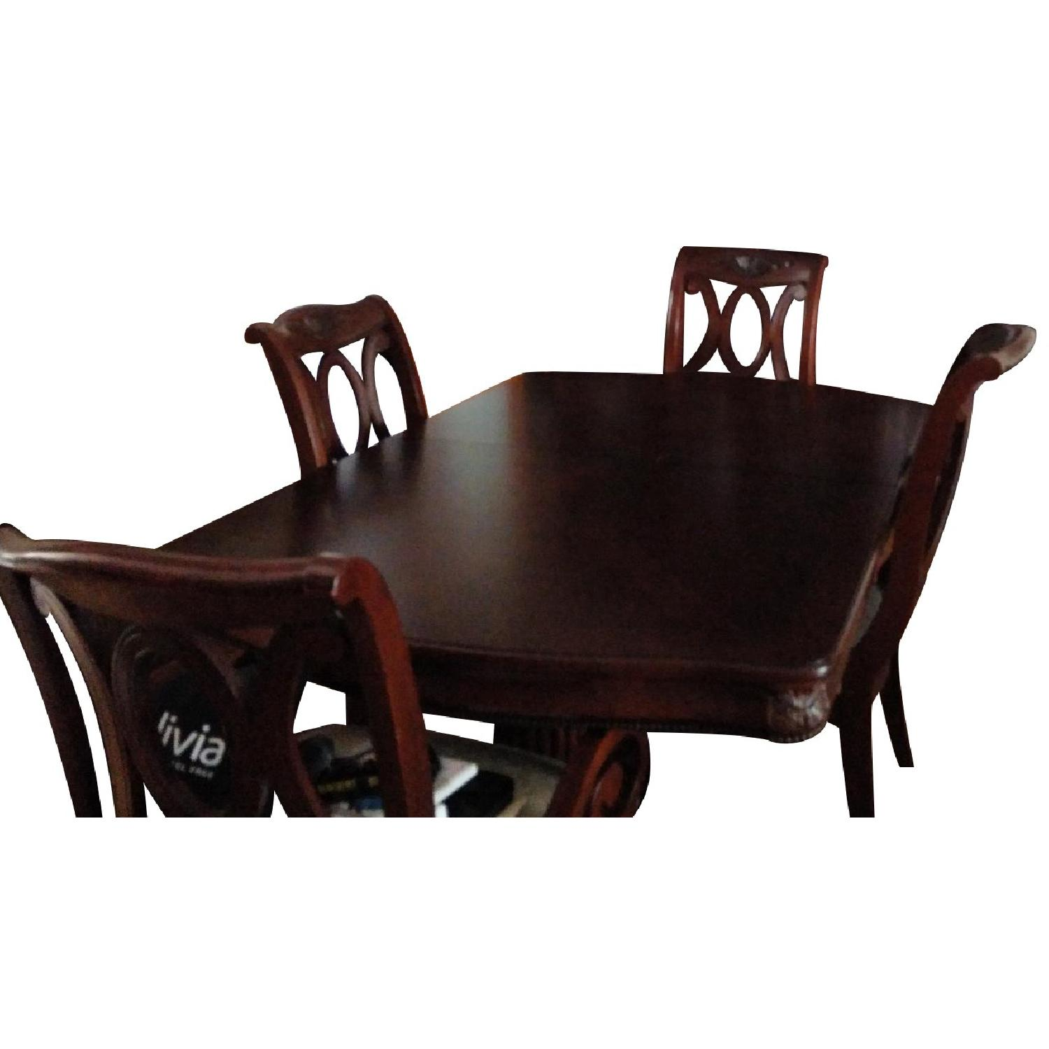 Fortunoff Cherry Wod Dining Table w/ 8 Chairs + China Buffet - image-0