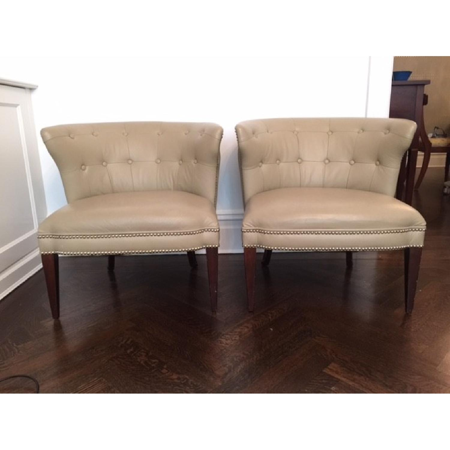 Global Views Leather and Nickel Nail-Head Club Chairs - Pair - image-1