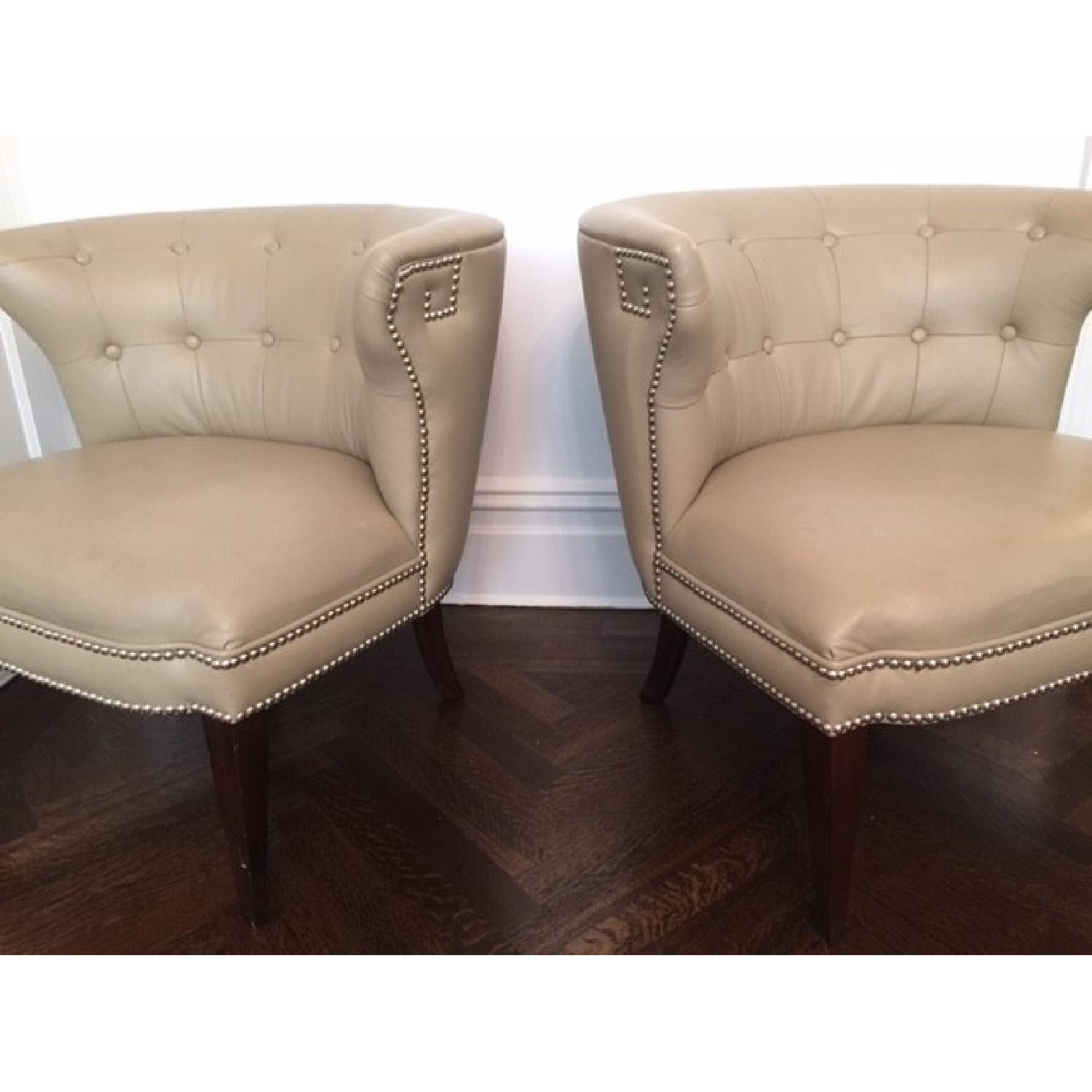 Global Views Leather and Nickel Nail-Head Club Chairs - Pair - image-2