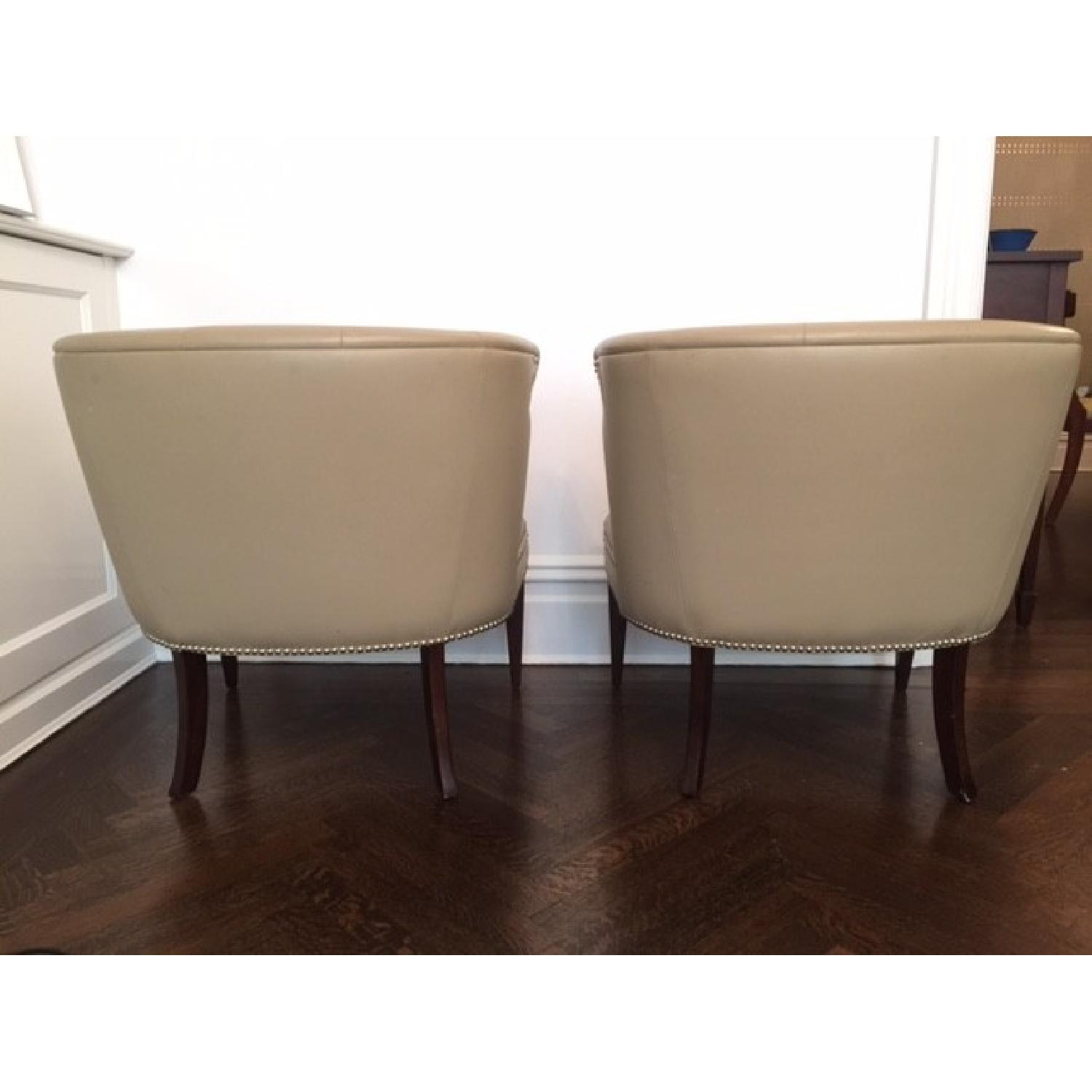 Global Views Leather and Nickel Nail-Head Club Chairs - Pair - image-4
